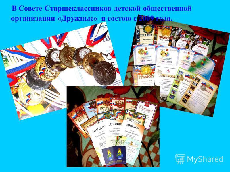 В Совете Старшеклассников детской общественной организации «Дружные» я состою с 2009 года.