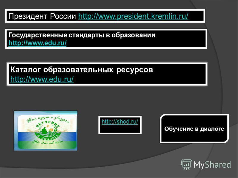Каталог образовательных ресурсов http://www.edu.ru/ http://www.edu.ru/ Государственные стандарты в образовании http://www.edu.ru/ http://www.edu.ru/ Президент России http://www.president.kremlin.ru/http://www.president.kremlin.ru/ http://shod.ru/ Обу