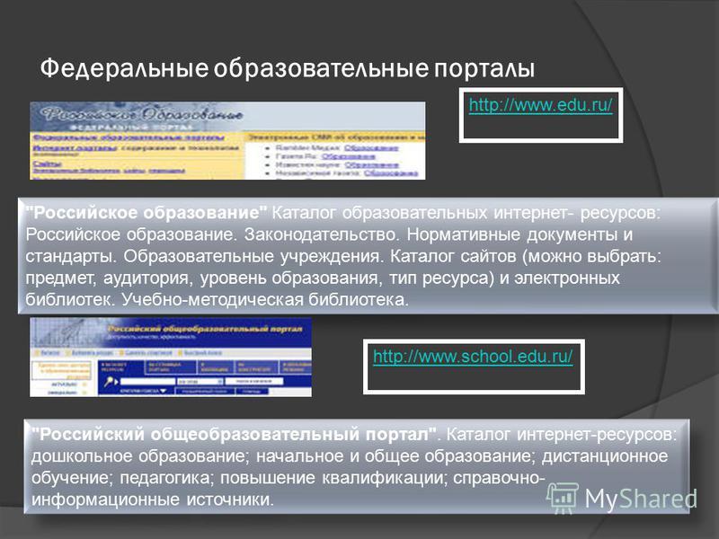 Федеральные образовательные порталы http://www.edu.ru/