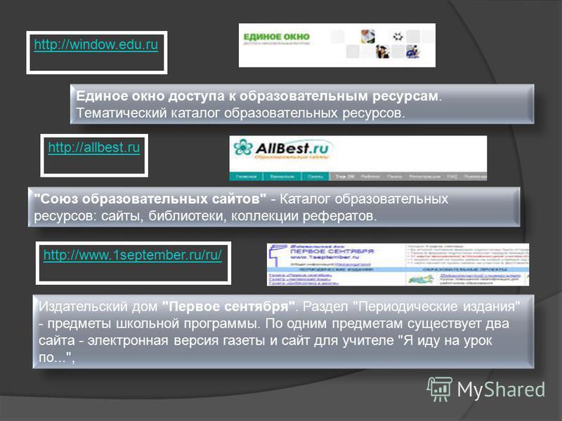 http://window.edu.ru Единое окно доступа к образовательным ресурсам. Тематический каталог образовательных ресурсов. http://allbest.ru