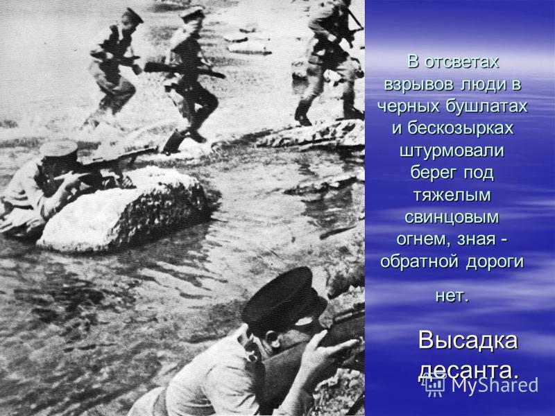 И вот под покровом ночи десант Куникова подошел к берегу. Десантники прыгали в холодную воду, бережно тащили на себе ящики с патронами и минами, гранатами и толом, с запасами продовольствия.