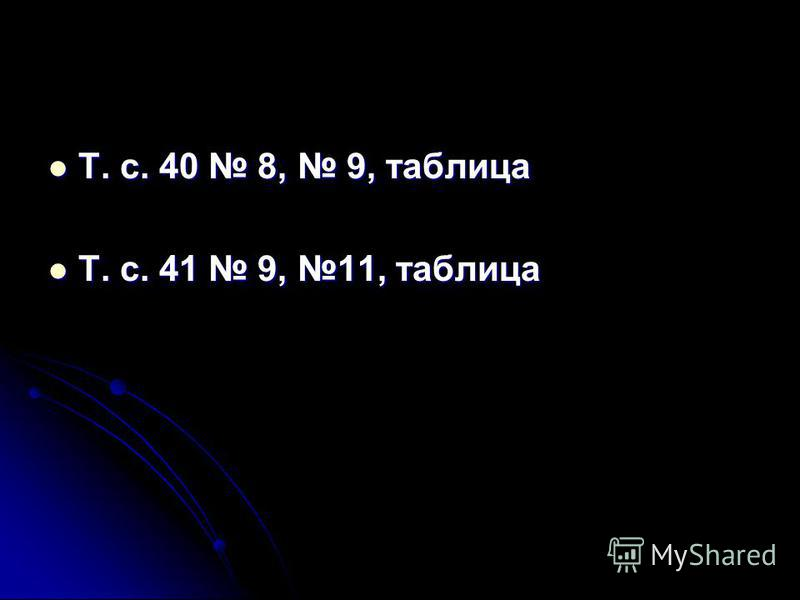 Т. с. 40 8, 9, таблица Т. с. 40 8, 9, таблица Т. с. 41 9, 11, таблица Т. с. 41 9, 11, таблица