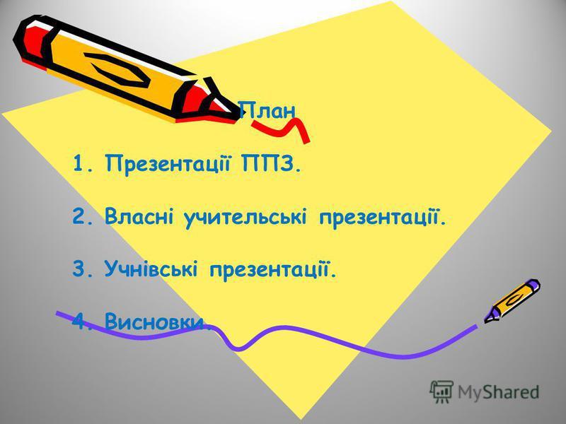 План 1. Презентації ППЗ. 2. Власні учительські презентації. 3. Учнівські презентації. 4. Висновки.
