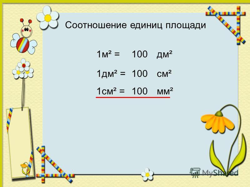 Соотношение единиц площади 1 м² =дм²100 1 дм² =см²100 1 см² =мм²100