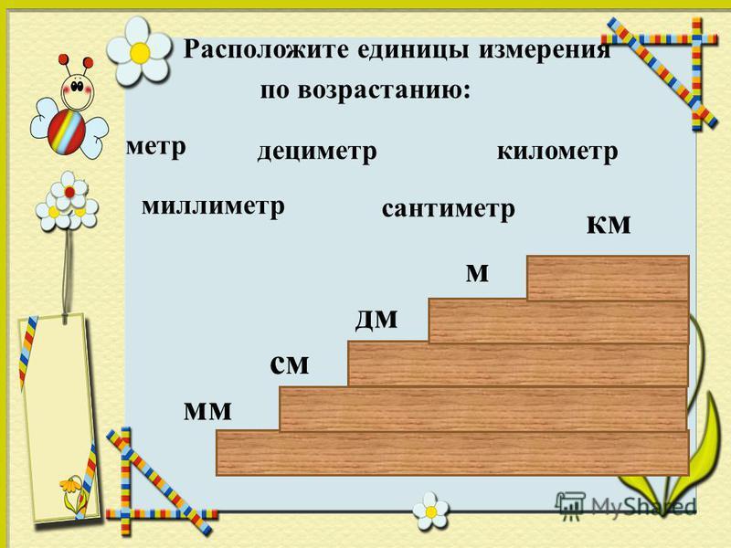 Расположите единицы измерения по возрастанию: дециметр километр метр сантиметр миллиметр мм см дм м км