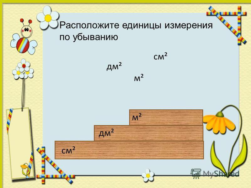 см² дм² м² см² дм² Расположите единицы измерения по убыванию