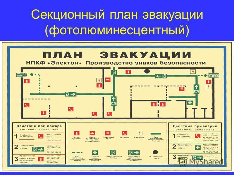 Секционный план эвакуации (фотолюминесцентный)