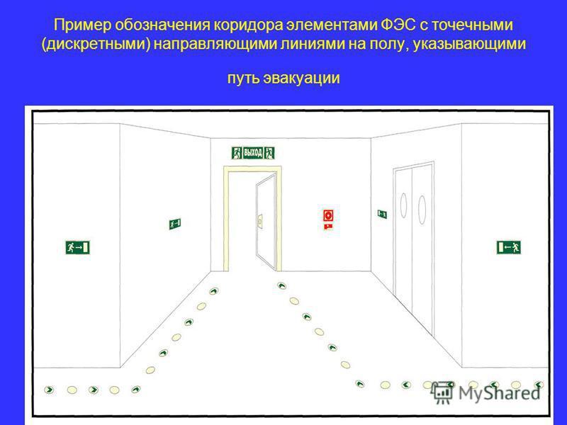 Пример обозначения коридора элементами ФЭС с точечными (дискретными) направляющими линиями на полу, указывающими путь эвакуации