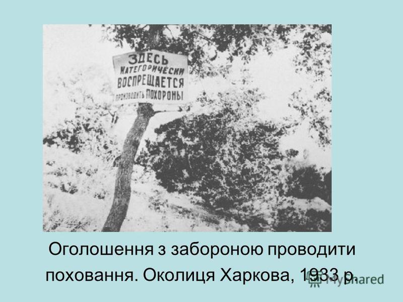 Оголошення з забороною проводити поховання. Околиця Харкова, 1933 р.