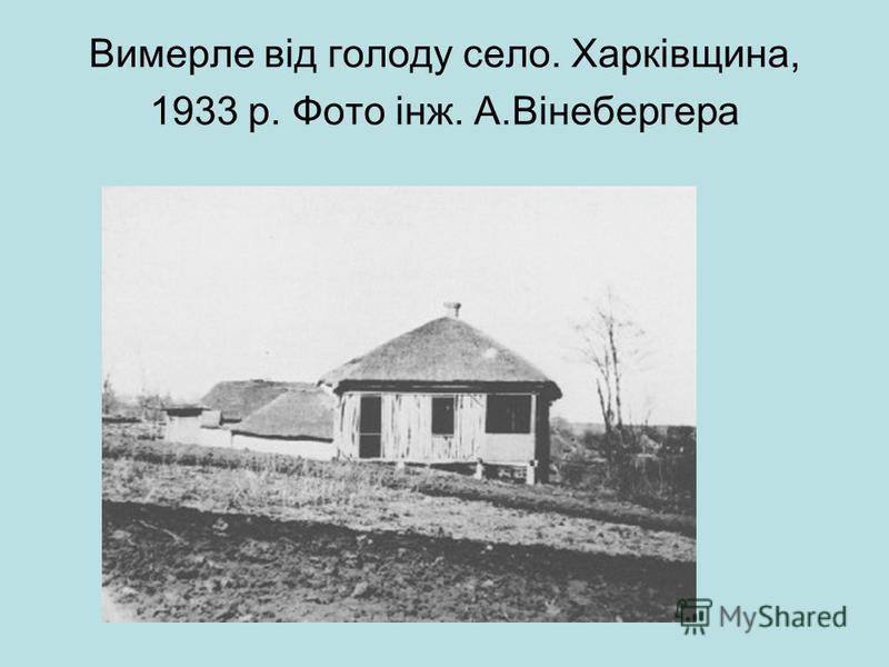 Вимерле від голоду село. Харківщина, 1933 р. Фото інж. А.Вінебергера