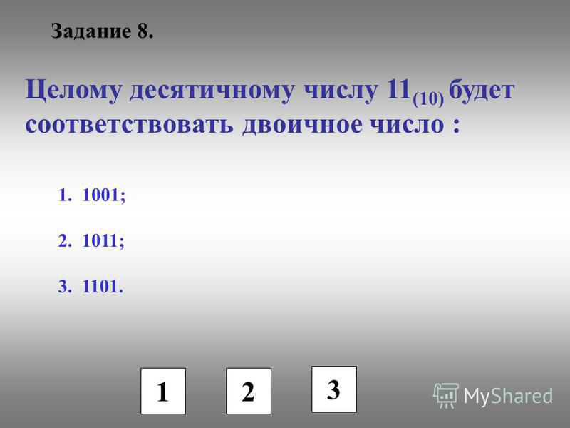Задание 8. Целому десятичному числу 11 (10) будет соответствовать двоичное число : 1. 1001; 2. 1011; 3. 1101. 1 2 3