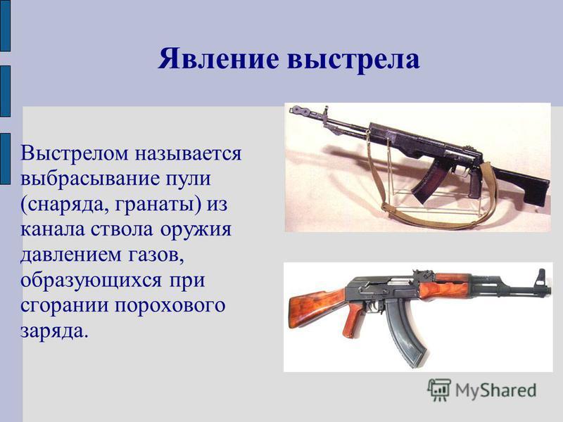 Явление выстрела Выстрелом называется выбрасывание пули (снаряда, гранаты) из канала ствола оружия давлением газов, образующихся при сгорании порохового заряда.
