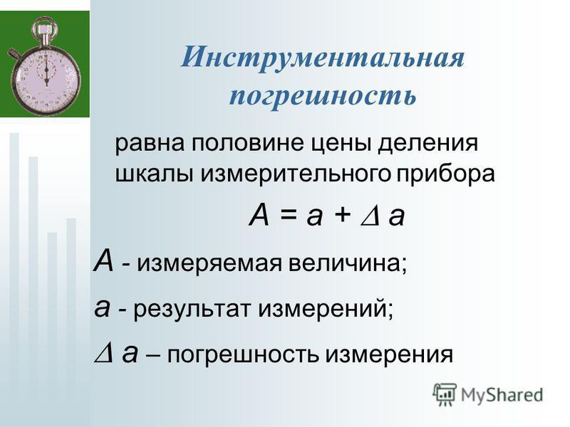 Инструментальная погрешность равна половине цены деления шкалы измерительного прибора А = а + а А - измеряемая величина; а - результат измерений; а – погрешность измерения