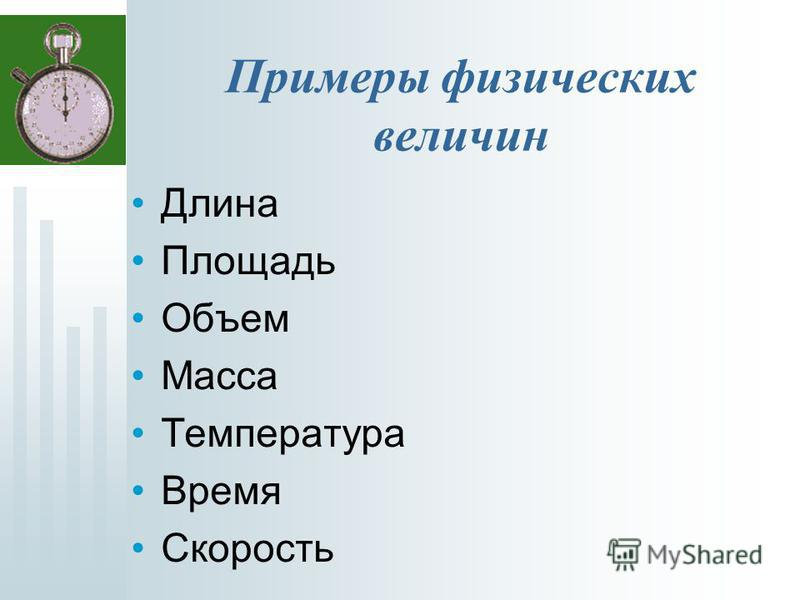 Примеры физических величин Длина Площадь Объем Масса Температура Время Скорость