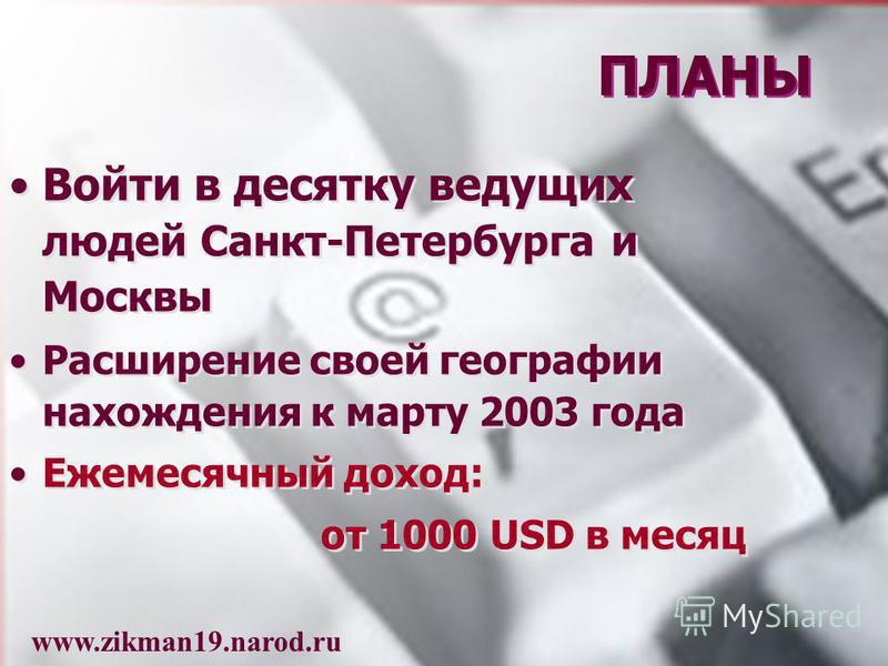 Войти в десятку ведущих людей Санкт-Петербурга и Москвы Расширение своей географии нахождения к марту 2003 года Ежемесячный доход: от 1000 USD в месяц Войти в десятку ведущих людей Санкт-Петербурга и Москвы Расширение своей географии нахождения к мар