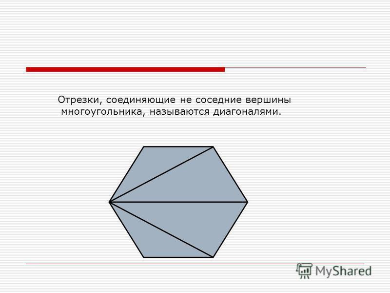 Отрезки, соединяющие не соседние вершины многоугольника, называются диагоналями.