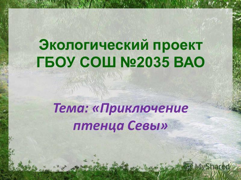 Экологический проект ГБОУ СОШ 2035 ВАО Тема: «Приключение птенца Севы»