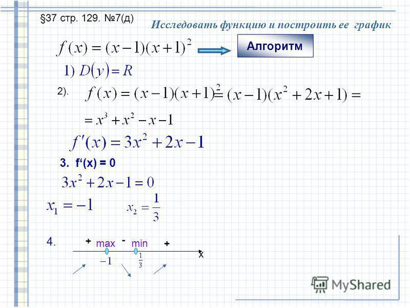 Тема « Алгоритм исследования свойств функции: 1. Найти область определения функции 2. Найти производную функции. 3. Найти критические точки функции. 4. Найти промежутки возрастания и убывания функции. 5. Найти точки экстремума и значения функции в эт