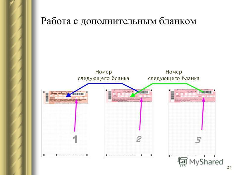 Работа с дополнительным бланком Номер следующего бланка Номер следующего бланка 1 2 3 24