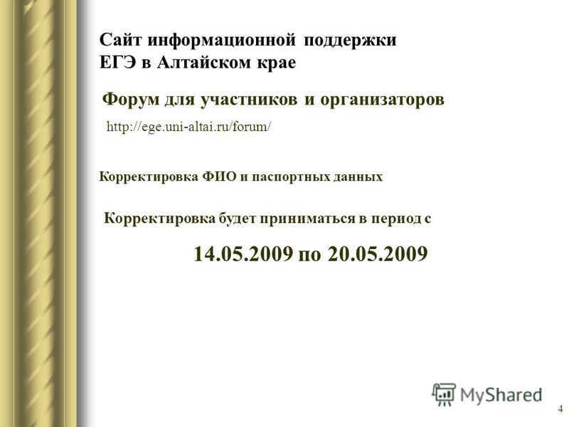 Сайт информационной поддержки ЕГЭ в Алтайском крае Форум для участников и организаторов http://ege.uni-altai.ru/forum/ 4 Корректировка будет приниматься в период с 14.05.2009 по 20.05.2009 Корректировка ФИО и паспортных данных