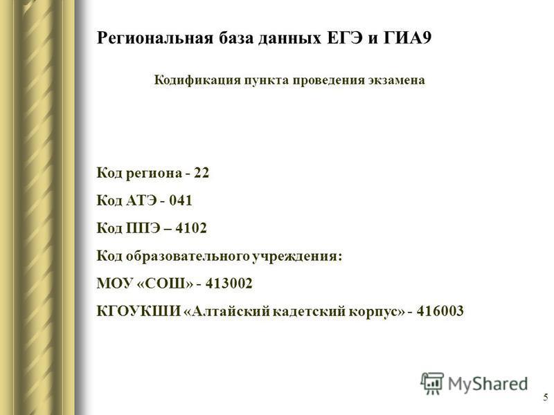 Региональная база данных ЕГЭ и ГИА9 Кодификация пункта проведения экзамена Код региона - 22 Код АТЭ - 041 Код ППЭ – 4102 Код образовательного учреждения: МОУ «СОШ» - 413002 КГОУКШИ «Алтайский кадетский корпус» - 416003 5
