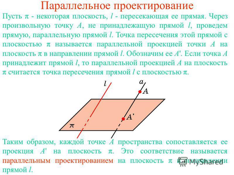 Параллельное проектирование Таким образом, каждой точке A пространства сопоставляется ее проекция A' на плоскость π. Это соответствие называется параллельным проектированием на плоскость π в направлении прямой l. Пусть π - некоторая плоскость, l - пе