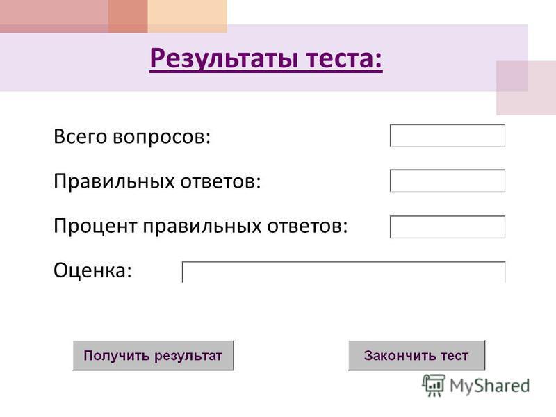 Результаты теста : Всего вопросов : Правильных ответов : Процент правильных ответов : Оценка :