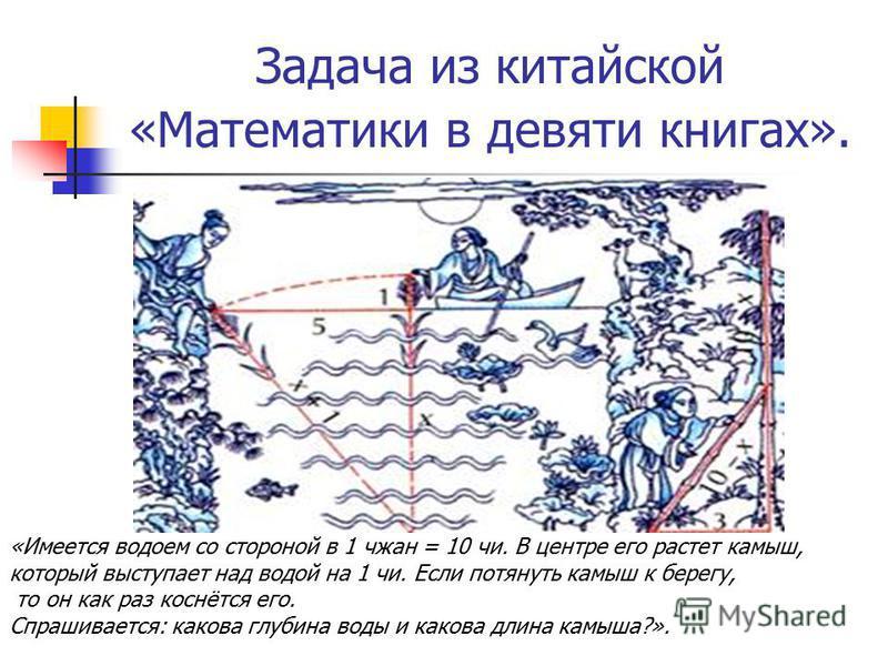 Задача из китайской «Математики в девяти книгах». «Имеется водоем со стороной в 1 чжан = 10 чи. В центре его растет камыш, который выступает над водой на 1 чи. Если потянуть камыш к берегу, то он как раз коснётся его. Спрашивается: какова глубина вод