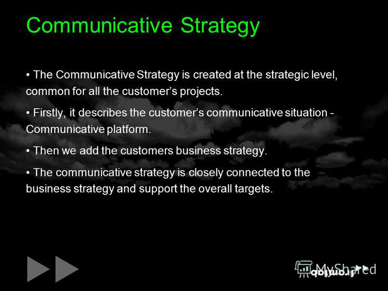 Communicative Strategy The Communicative Strategy is created at the strategic level, common for all the customers projects. Firstly, it describes the customers communicative situation - Communicative platform. Then we add the customers business strat