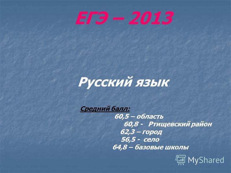 ЕГЭ – 2013 Русский язык Средний балл: 60,5 – область 60,8 - Ртищевский район 62,3 – город 56,5 - село 64,8 – базовые школы
