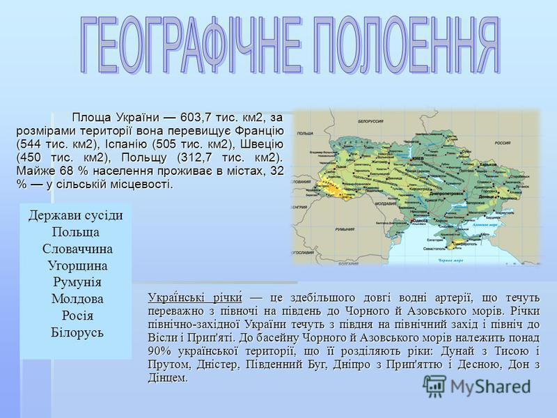 Площа України 603,7 тис. км2, за розмірами території вона перевищує Францію (544 тис. км2), Іспанію (505 тис. км2), Швецію (450 тис. км2), Польщу (312,7 тис. км2). Майже 68 % населення проживає в містах, 32 % у сільській місцевості. Держави сусіди По