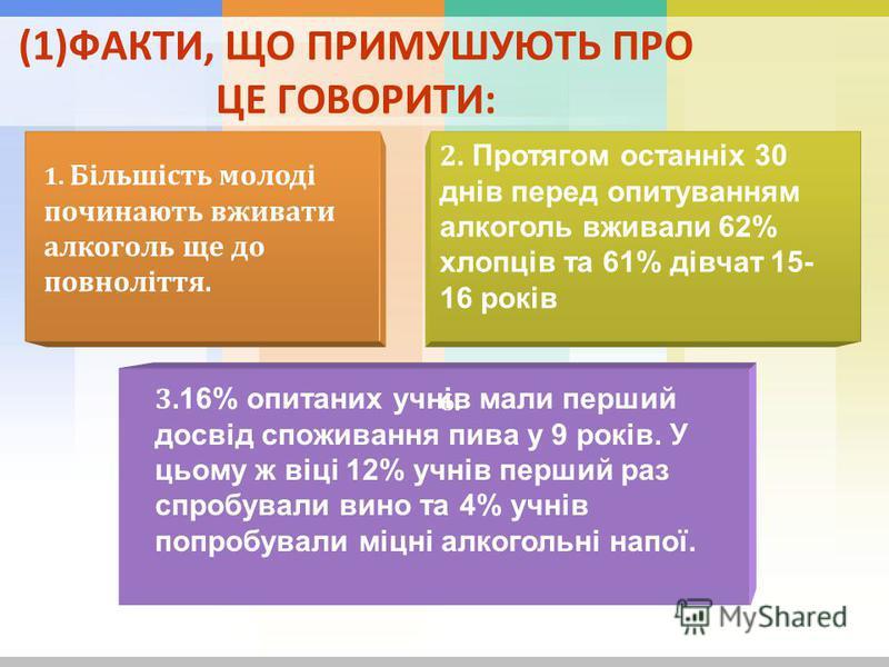 (1)ФАКТИ, ЩО ПРИМУШУЮТЬ ПРО ЦЕ ГОВОРИТИ: 1. Більшість молоді починають вживати алкоголь ще до повноліття. 2. Протягом останніх 30 днів перед опитуванням алкоголь вживали 62% хлопців та 61% дівчат 15- 16 років 3. 16% опитаних учнів мали перший досвід