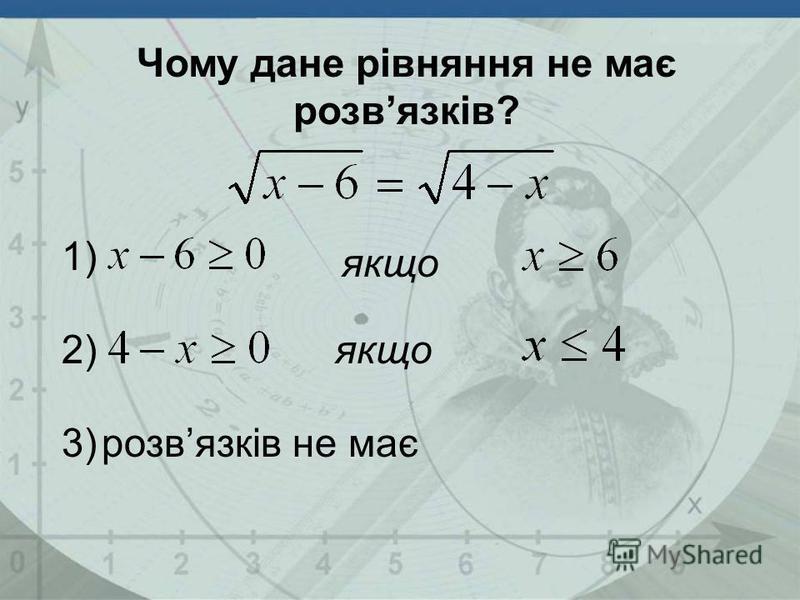 якщо розвязків не має 1) 2) 3) Чому дане рівняння не має розвязків?