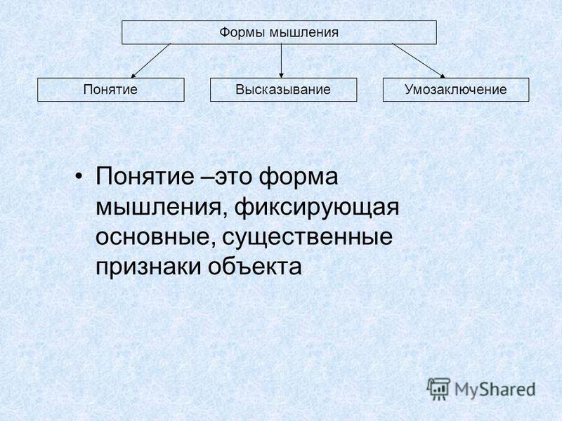 Формы мышления Понятие ВысказываниеУмозаключение Понятие –это форма мышления, фиксирующая основные, существенные признаки объекта