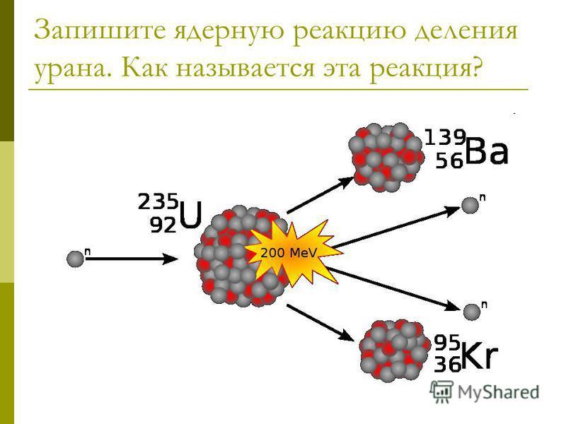 Запишите ядерную реакцию деления урана. Как называется эта реакция?