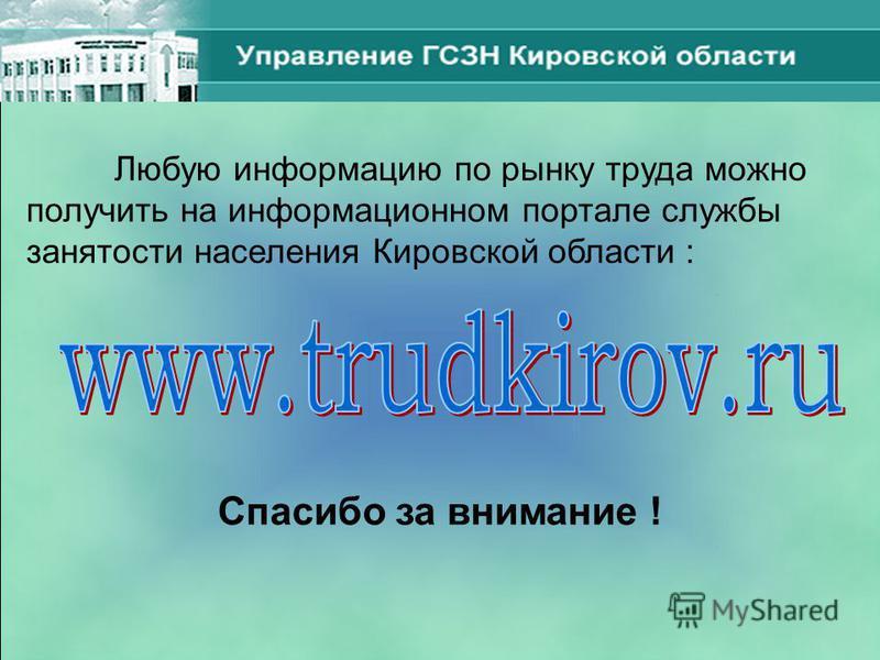 Любую информацию по рынку труда можно получить на информационном портале службы занятости населения Кировской области : Спасибо за внимание !