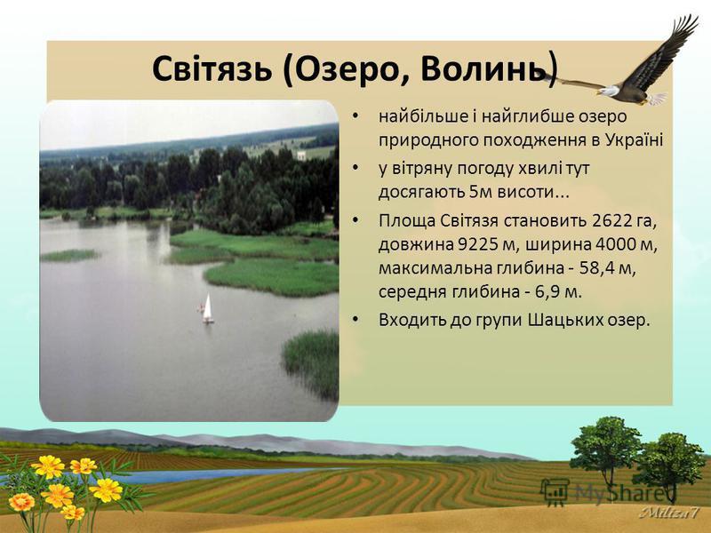 Світязь (Озеро, Волинь ) найбільше і найглибше озеро природного походження в Україні у вітряну погоду хвилі тут досягають 5м висоти... Площа Світязя становить 2622 га, довжина 9225 м, ширина 4000 м, максимальна глибина - 58,4 м, середня глибина - 6,9