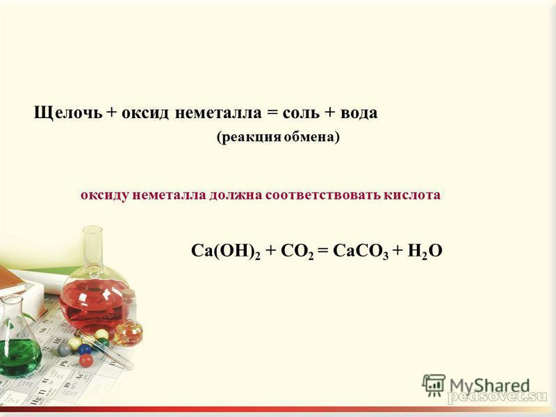 Щелочь + оксид неметалла = соль + вода (реакция обмена) Ca(OH) 2 + CO 2 = CaCO 3 + H 2 O оксиду неметалла должна соответствовать кислота