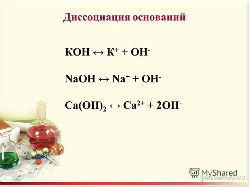 Диссоциация оснований КOH К + + OH - NaOH Na + + OH - Ca(OH) 2 Ca 2+ + 2OH -