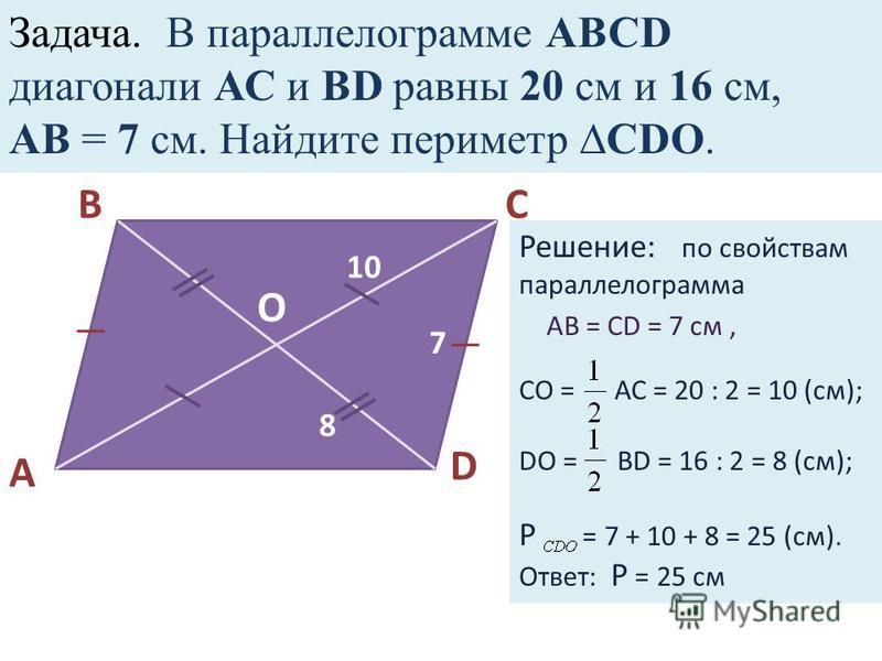 Задача. В парольлелограммамме АВСD диагонали АС и ВD рафны 20 см и 16 см, АВ = 7 см. Найдите периметр СDO. A BC D O 10 8 7 Решение: по свойствам парольлелограммамма СО = АС = 20 : 2 = 10 (см); DO = BD = 16 : 2 = 8 (см); Р = 7 + 10 + 8 = 25 (см). Отве
