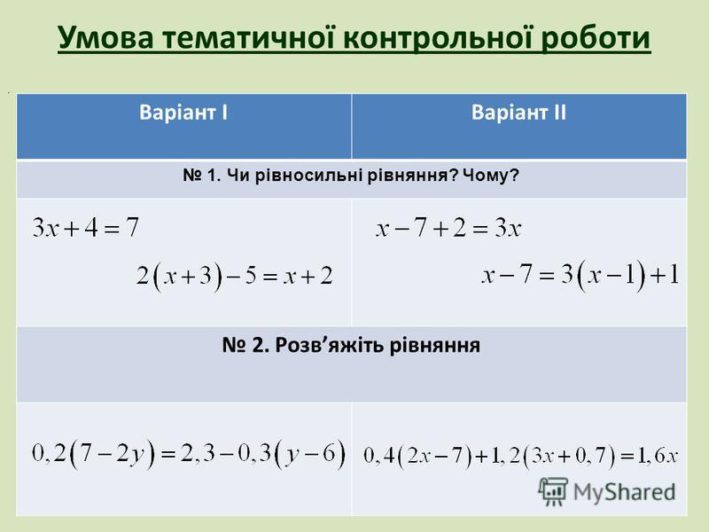 Умова тематичної контрольної роботи. Варіант ІВаріант ІІ 1. Чи рівносильні рівняння? Чому? 2. Розвяжіть рівняння