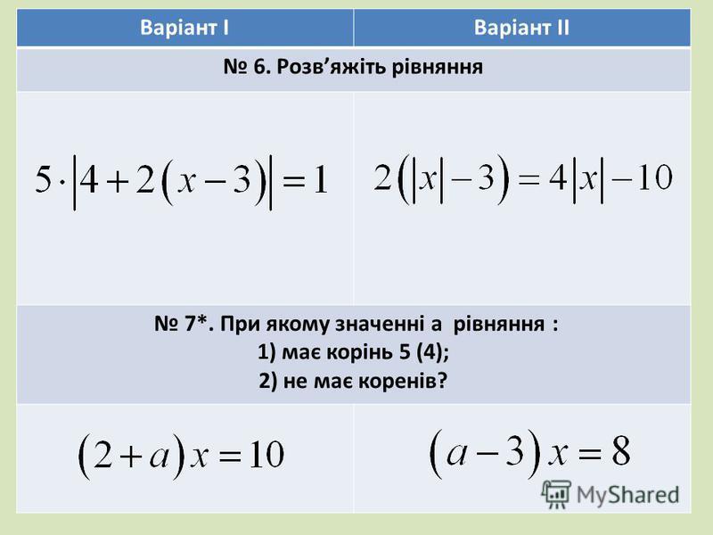 Варіант ІВаріант ІІ 6. Розвяжіть рівняння 7*. При якому значенні a рівняння : 1) має корінь 5 (4); 2) не має коренів?