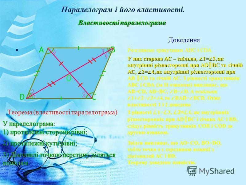 Паралелограм і його властивості. А В D C Теорема (властивості паралелограма) Доведення Розглянемо трикутники АВС і СDА. Властивості паралелограма У паралелограма: 1) протилежні сторони рівні; 2) протилежні кути рівні; 3) Діагоналі точкою перетину діл
