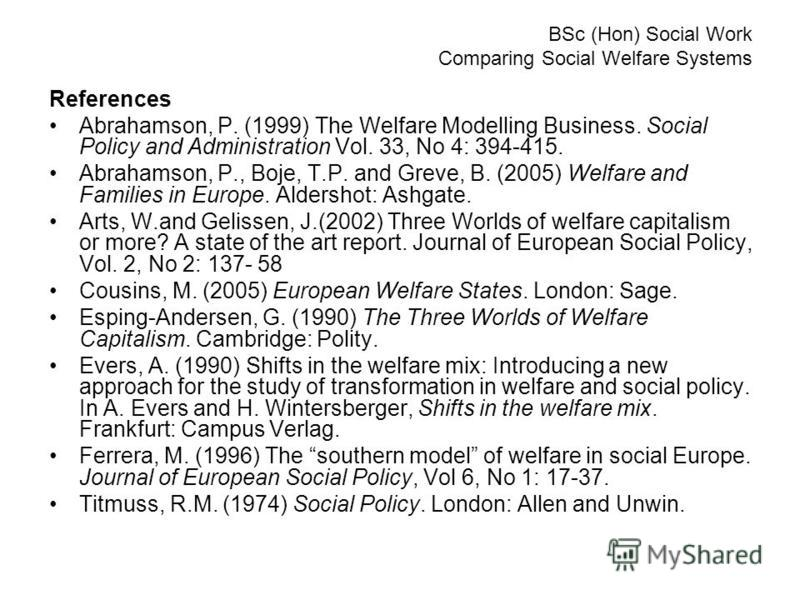 BSc (Hon) Social Work Comparing Social Welfare Systems References Abrahamson, P. (1999) The Welfare Modelling Business. Social Policy and Administration Vol. 33, No 4: 394-415. Abrahamson, P., Boje, T.P. and Greve, B. (2005) Welfare and Families in E