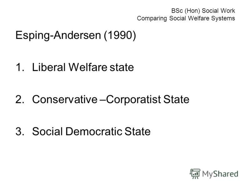 BSc (Hon) Social Work Comparing Social Welfare Systems Esping-Andersen (1990) 1.Liberal Welfare state 2.Conservative –Corporatist State 3.Social Democratic State