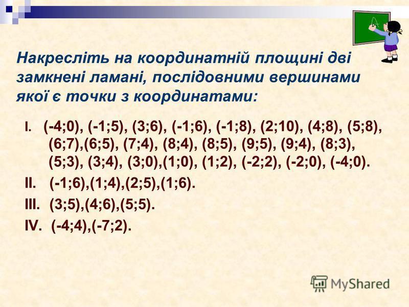 Накресліть на координатній площині дві замкнені ламані, послідовними вершинами якої є точки з координатами: І. (-4;0), (-1;5), (3;6), (-1;6), (-1;8), (2;10), (4;8), (5;8), (6;7),(6;5), (7;4), (8;4), (8;5), (9;5), (9;4), (8;3), (5;3), (3;4), (3;0),(1;