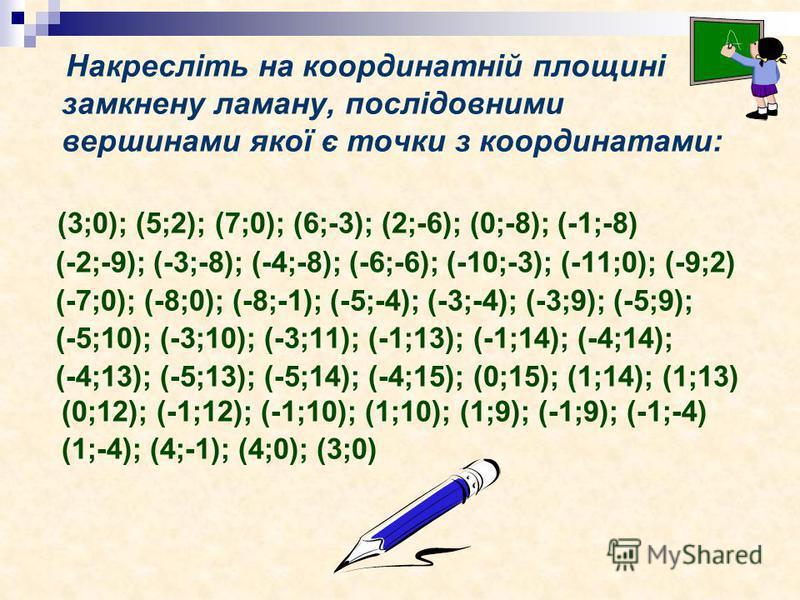 Накресліть на координатній площині замкнену ламану, послідовними вершинами якої є точки з координатами: (3;0); (5;2); (7;0); (6;-3); (2;-6); (0;-8); (-1;-8) (-2;-9); (-3;-8); (-4;-8); (-6;-6); (-10;-3); (-11;0); (-9;2) (-7;0); (-8;0); (-8;-1); (-5;-4