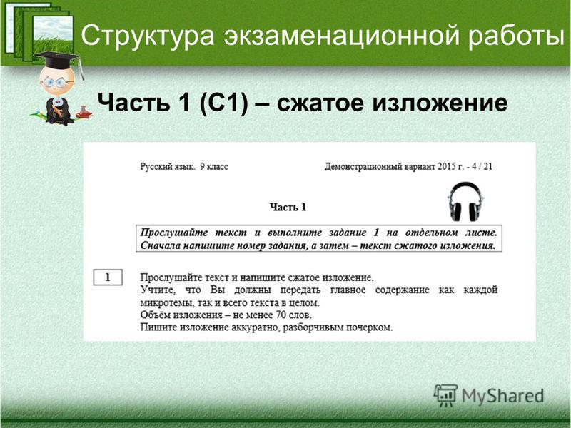 Структура экзаменационной работы Часть 1 (С1) – сжатое изложение