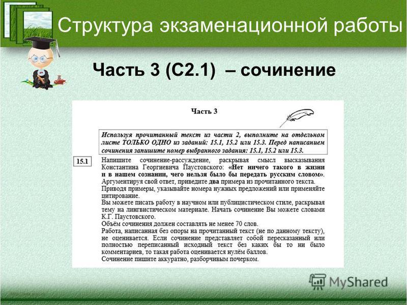 Структура экзаменационной работы Часть 3 (С2.1) – сочинение
