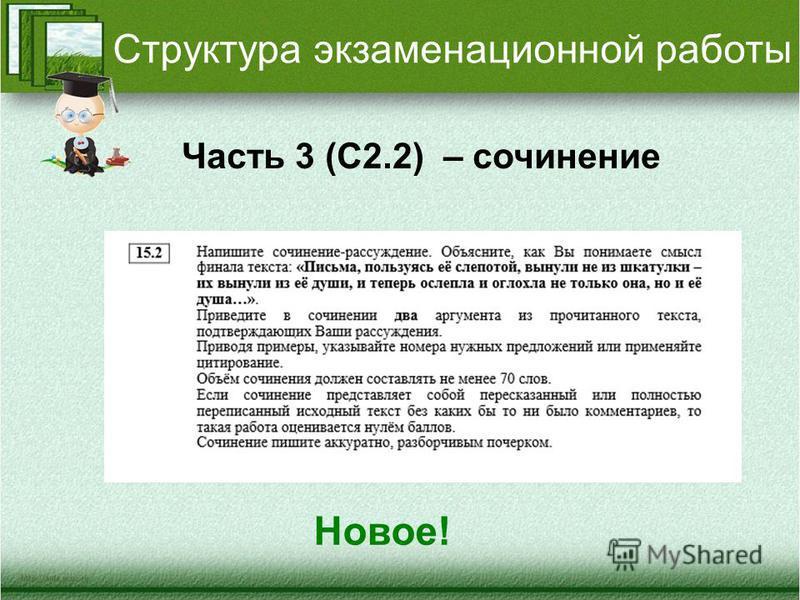 Структура экзаменационной работы Часть 3 (С2.2) – сочинение Новое!